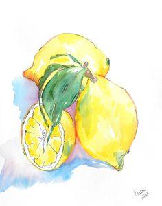 Lemons Watercolor Lemons Paintings of Lemons by AngelicbyJones, $45.00
