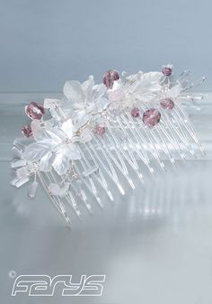 Comb in the color Ivory and Amethyst Handmade Hair Accessories