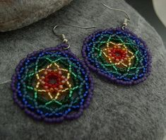 Aria - Chakra Mandalas - Beaded Mandala Earrings Round Rainbow Red Orange Yellow Green Blue Purple