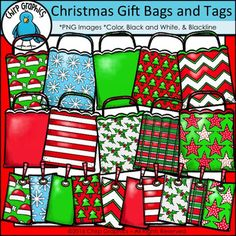 Create some fun matching games and more with this set of Christmas Gift Bags and Tags!This set contains 57 images in total - 18 black and white, 18 blackline, and 21 colour versions!   It includes the following patterned gift bags with matching tags:blank (red, green)chevronhollyplaidsanta hatssnowflakesstarsstripestreesImages are pngs created at 300 dpi on a transparent background.