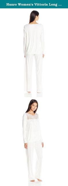 Hanro Women's Vittoria Long Sleeve Pajama Set, Off White, Medium. Classic and feminine, the vittoria long sleeve pajama set is tailored from a soft 100 percent mercerized cotton interlock for ideal comfort. This pajama set includes a long sleeve top with a blouson hem and features a lavishly inserted high quality floral embroidery at the yoke. A full length pant with a covered elastic waistband completes the set for a custom fit.