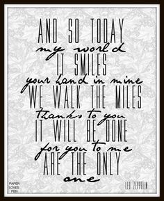 Led+Zeppelin+Thank+You+lyric+Art+Song+Quote+8X10+by+paperlovespen,+$15.00