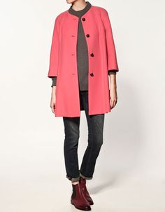 add gray under my pink coat Poorly Dressed, Coral Jacket, Zara Official Website, Swing Coats, Winter Looks, Clothing Items, Her Style, Coats For Women, Winter Outfits