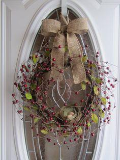 Summer Wreath  Birdnest Wreath  Berry by DoorWreathsByDesign, $59.95