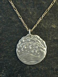 Sterling Silver Wave Pendant Ancient Japanese Design on Sterling Silver Chain.