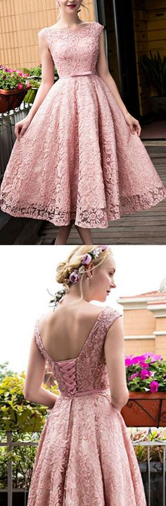 Pink Homecoming Dresses, Short Homecoming Dresses, A-line/Princess Homecoming Dresses, Backless Homecoming Dresses, Sleeveless Homecoming Dresses, Bateau Homecoming Dresses, Lace Homecoming Dresses, Tea-length Homecoming Dresses, Homecoming Dresses 2017, Cheap Homecoming Dress
