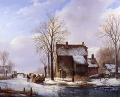 schelfhout andreas scaters near farmers dwelling sun « Schelfhout Andreas « Artists « Art might - just art Winter Landscape, Landscape Art, Landscape Paintings, Landscapes, Germany And Prussia, Medieval Life, Dutch Painters, Painting Gallery, Traditional Paintings