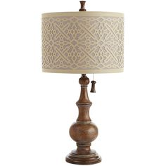 Pier 1 Imports Kuba Table Lamp (375 BRL) ❤ liked on Polyvore featuring home, lighting, table lamps, brown, brown shade, brown shades, pier 1 imports, brown lamps and pull chain lamp