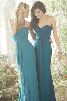 strapless dresses in different shades of blue with ties