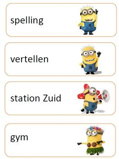dagritme kaartjes minions Minions, New Warriors, School Items, Skylanders, School Pictures, Winnie The Pooh, Classroom, Teacher, Education