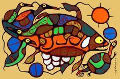 Norval Morrisseau giclee print on canvas Haida Art, Canadian Art, Famous Art, Native Art, Animal Paintings, Art Lessons, Paper Art, Giclee Print, Cool Art
