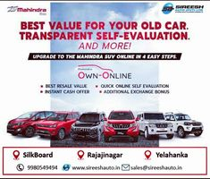 BEST VALUE FOR YOUR OLD CAR. TRANSPARENT SELF-EVALUATION and a lot more! Upgrade from your old car to a new Mahindra SUV in 4 simple steps and enjoy: - Best Resale Value - Quick online self-evaluation - Instant cash offer - Additional exchange bonus #Mahindra #OwnOnline For More Info call us: 9980549494 Online Self, Instant Cash, Old Cars, Simple, Instant Money