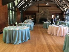 Guest tables in hazel and champagne.