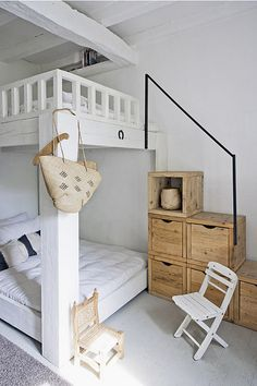 nice idea to make a stairs for a bunk bed ;-) and the natural tones are nice to