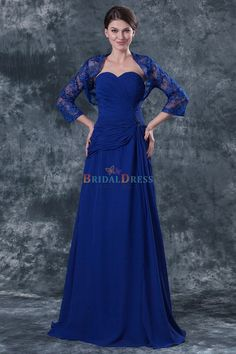 Dignified A-line Sweetheart Blue Chiffon Mother Dress With 3/4 Long Sleeve Lace Bolero Jacket