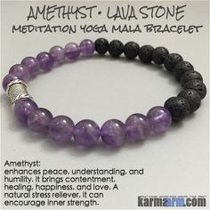 MANTRA: I choose courage, strength and patience. - 8mm Natural Amethyst Gemstones - 8mm Natural Lava Stone - Tibetan Silver Rondelle - Commercial Strength, Latex-Free Elastic Band - Artisan Crafted in