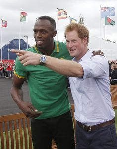 Pin for Later: It's Easy to See Why Prince Harry Charms Every Celebrity He Meets Usain Bolt