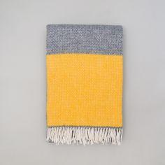 Yellow and Grey Wool Blanket