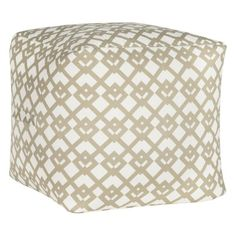 White Pouf Ottoman Stripe Woven Black And White Outdoor Pouf In All Furniture  Cb2