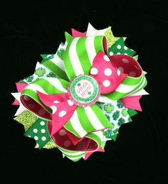 St. Patrick's Day Over the Top Hair Bow-Green & Pink Hair Bow with Bottle Cap Center-Stacked Hair Bow