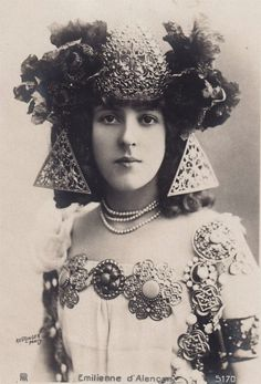 """Emilienne D'Alencon, Dancer and Grand Courtesan of Belle Epoque France, circa 1900"""