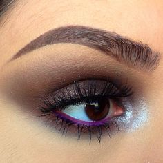 smoky eye makeup inspiration for brown eyes: plum/grey eyeshadow and bright magenta eyeliner // dirtymelodies