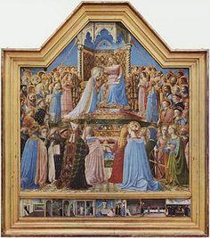La coronación de la virgen. Fra Angelico. 1434-45. Tempera sobre panel (213 cm × 211 cm). Louvre, Paris.