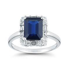 Costco Mexico - Anillo de Zafiro Azul con Diamantes (0.65ctw), Oro Blanco de 18kt