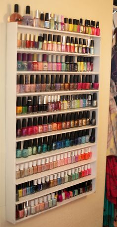 DIY Nail Polish Rack. Want to do this by my vanity !