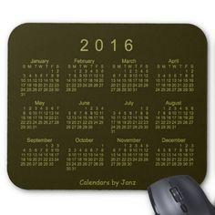2016 Drab Green Calendar by Janz Mousepad