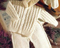Baby Sweater Jacket Trousers Hat Mittens Knitting Pattern