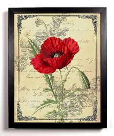 Rot Kalifornischer Mohn Ephemera antiken Abbildung 8 x 10 Giclee Kunstdruck Upcycled Collage Recycling buchen Art Buy 2 Get 1 FREE