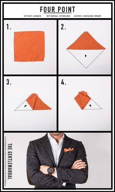 Ideas for moda hombre casual fashion pocket squares Pocket Square Folds, Pocket Square Styles, Men's Pocket Squares, Cool Tie Knots, Pochette Costume, Handkerchief Folding, Mens Fashion Suits, Mens Suits, Men Style Tips