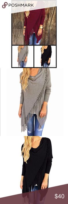 """{25% Off Bundles} Cowl Neck Longsleeve Wrap Tunic {NEW} Cowl Neck Long Sleeve Fringe Wrap Tunic Material Cotton & Polyester Size Small Bust 33-46"""" Length 28"""" Medium Bust 35-50"""" Length 30"""" Large Bust 36-48"""" Length 32"""" GlamVault Tops Tunics"""