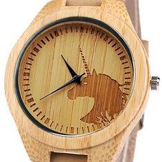 Hombres Mujeres Unicornio reloj moda casual ligero hecho a mano de madera  relojes regalo  Amazon 17fb2fd7b559