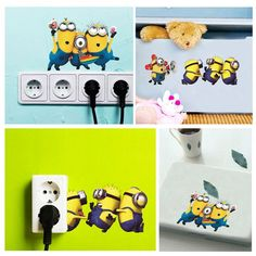 Minion Wall Stickers Switch Sticker 30*60CM Despicable Me 2 Removable Wall Decals Kids Room Cellphone Laptop Decor DIY
