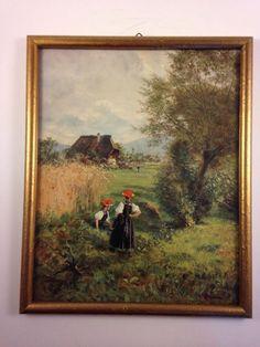 Sommertag im Schwarzwald by Wilhelm Hasemann Vintage Color Lithograph Print. ebsAmerica