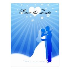 Elegant Blue Winter Save the Date Postcard