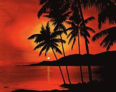 Hawaiian Sunset by Marvin Blatt Hawaiian Sunset Painting - Hawaiian Sunset Fine Art Print Hawaiian Sunset, Hawaiian Art, Sunset Canvas, Sunset Art, Sunset Paintings, Art Paintings, Beach Scenes, Pictures To Paint, Painting Inspiration