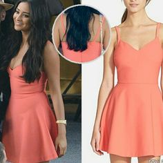 """Elizabeth and James Delia Fit and Flare Dress A V-neck tank bodice paired with a kicky A-line skirt get this coral-hued frock into the swing of summer style. 32 1/2"""" length (size 8). Hidden back-zip closure. Lined. 54% polyester, 38% viscose, 8% elastane. Dry clean. By Elizabeth and James Elizabeth and James Dresses Mini"""