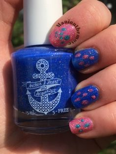Dotticure using California Girls & Boys Of Summer by Model City Polish & Shattered Seaglass by Anchor & Heart Lacquer