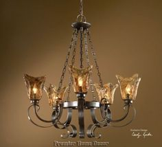 Old World Tuscan 5 Light Chandelier Heavy Glass Globes - Premier Home Decor