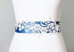 Bridal Couture - Beaded Ivory Lace Flower Royal Blue Ribbon Sash Belt - Wedding Dress Sashes Belts