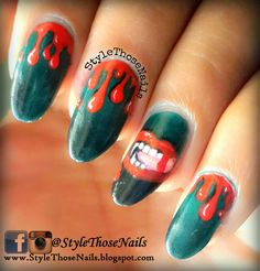 Halloween Vampire Nails - 3 Dark colours #HALLOWEEN  #dripnails #halloweennails find details here http://stylethosenails.blogspot.com/2014/10/halloween-vampire-nails-3-dark-colours.html