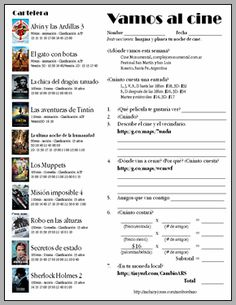 al cine...wow I'm pinning so many Spanish teaching ideas. Can't wait for school to start!