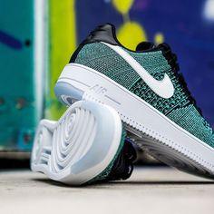 Turquesa Zapatos De Estilo Nike Air Force 1 Flyknit Para