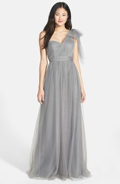 Jenny Yoo 'Annabelle' Convertible Tulle Column Dress (Regular & Plus Size) available at bridesmaids dresses Grey Bridesmaids, Tulle Bridesmaid Dress, Bridesmaid Dresses Plus Size, Junior Bridesmaids, Vestido Convertible, Annabelle Dress, Dress Vestidos, Column Dress, Nordstrom Dresses