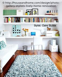 Home Office design by Claire Stubbs. Photo © Canadian House & Home magazine online, Feb 2011. Floating Desk & Book Shelves. Smooth & Sleek! The law requires you to credit the copyright holder/s. Give credit where due. Link directly to the  artist's website.  TO FIND the ORIGINAL WEB SITE of an online image: http://pinterest.com/pin/86975836525507659 If you're fair, you care.