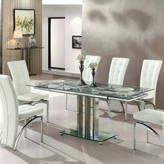 Rihanna Extending Glass Dining Table In Clear And Chrome Support                                                                                                                                                                                 More