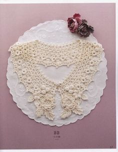 Crochet: Irish lace collar decorated with elements - maomao - I move your feet Crochet Collar Pattern, Col Crochet, Crochet Lace Collar, Crochet Girls, Thread Crochet, Irish Crochet, Crochet Yarn, Crochet Flowers, Crochet Patterns